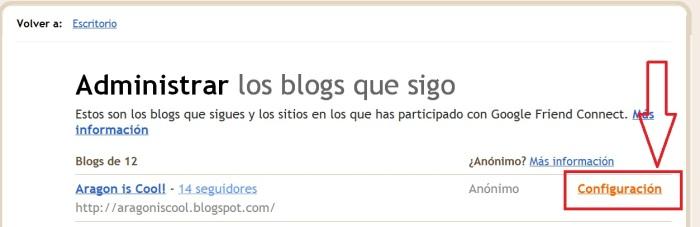 Dar de baja un blog de la lista de lectura de Blogger
