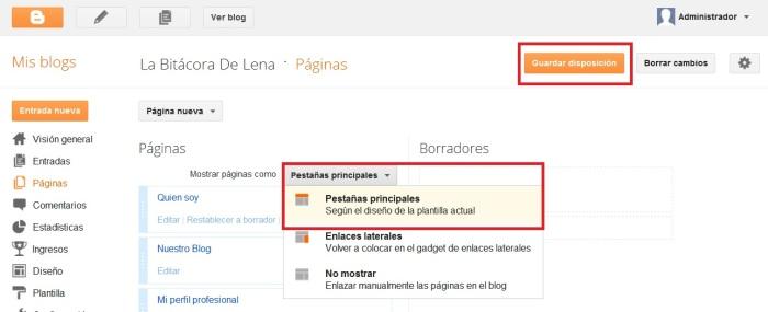 Crear páginas Blogger