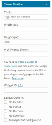 Insertar widget de Twitter wordpress