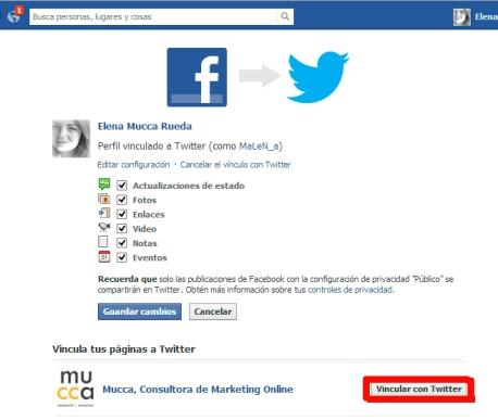 vincular cuenta de facebook con twitter
